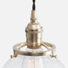 Vintage Brass Socket Detail - Glass Globe Pendant Light - Raw Brass Brass