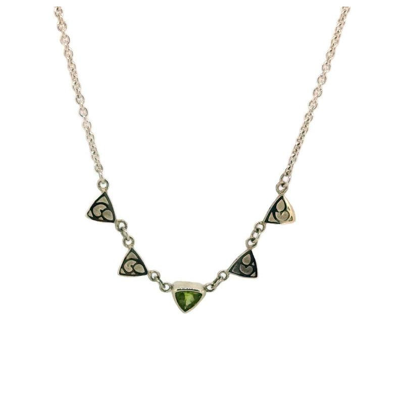 Trillion Triangle and Stone Necklace