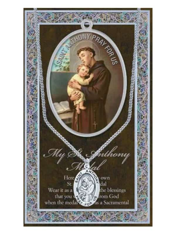 ST Anthony Pewter Saint Medal with Stainless Steel Chain