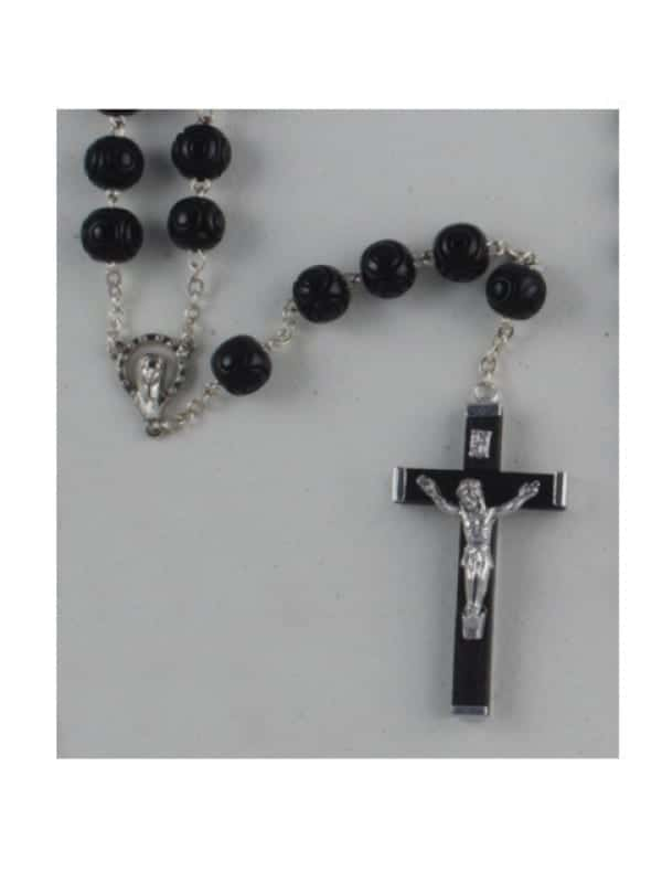 11MM Large Wood Rosary (BLACK)