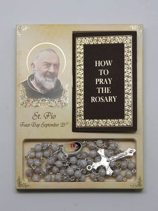 Rosary & Book Set - Padre Pio Size: 10O X 130MM - Glass Beads - 32PG Book
