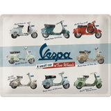 Vespa Model Chart Sign - Large (Size: 30x 40cm)