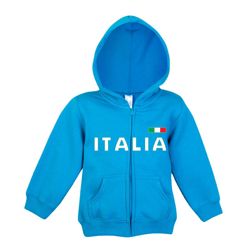 Italia Gold Fleece Baby/Kids Zip Hoodie Blue
