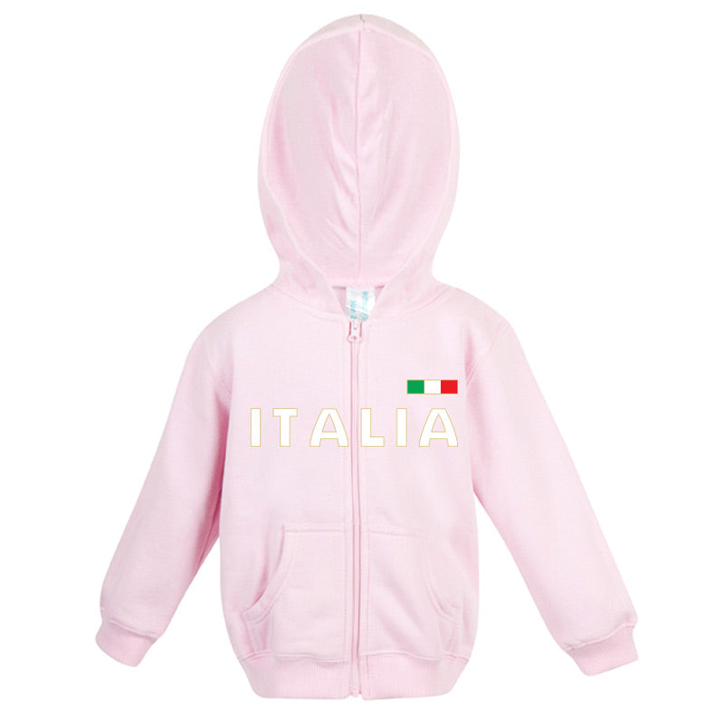 Italia Gold Fleece Baby/Kids Zip Hoodie Pink