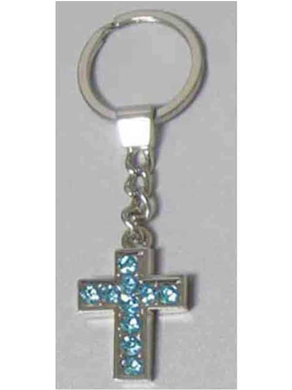 KEYRING Diamente Cross: BLUE