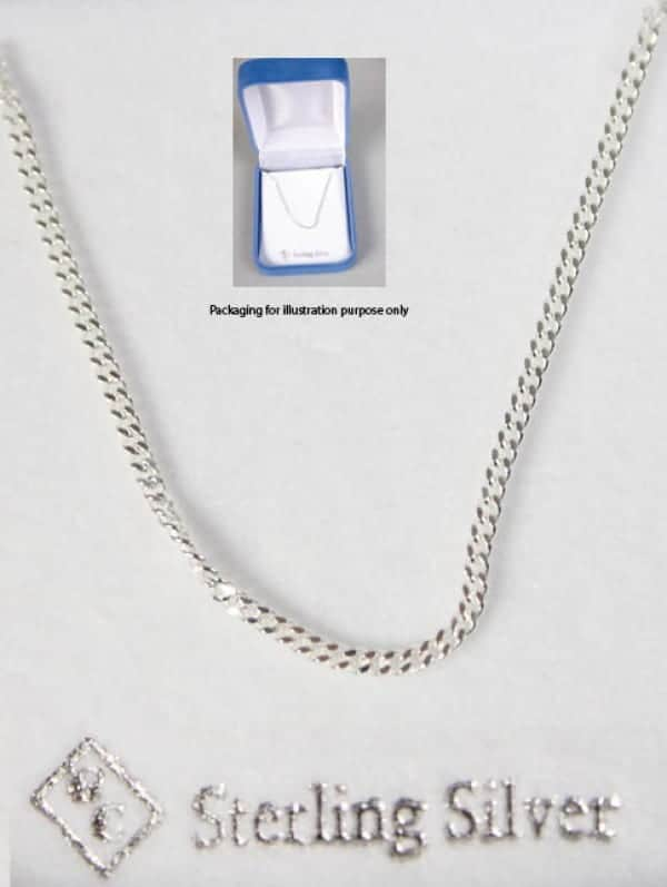 Sterling Silver Chain & Box 50cm Length