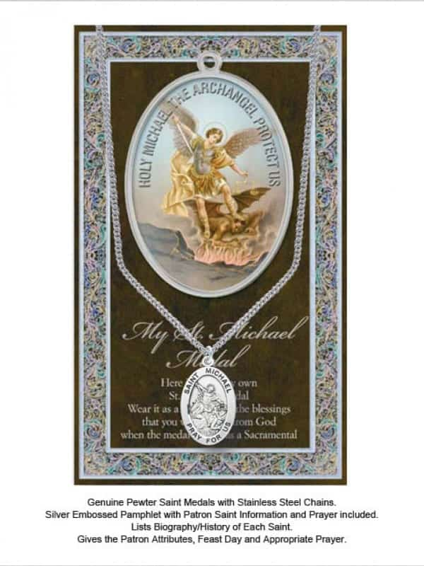 ST Michael Pewter Saint Medal With Stainless Steel Chain