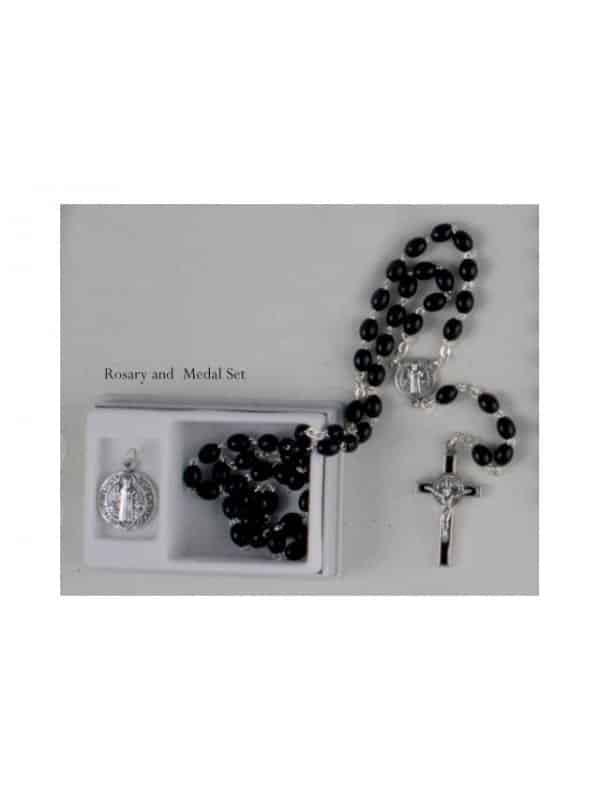 ST Benedict Rosary & Medal Set Black Boxed