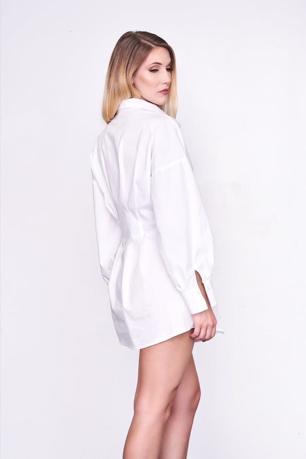 BELLA - White Waist-Cinched Shirt Dress w/Belt