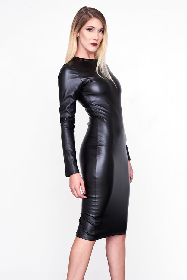 ESTELLE - Black Leather Midi Dress