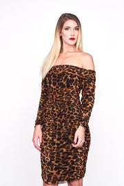 GISELLE - Animal Print Ruched Midi Dress