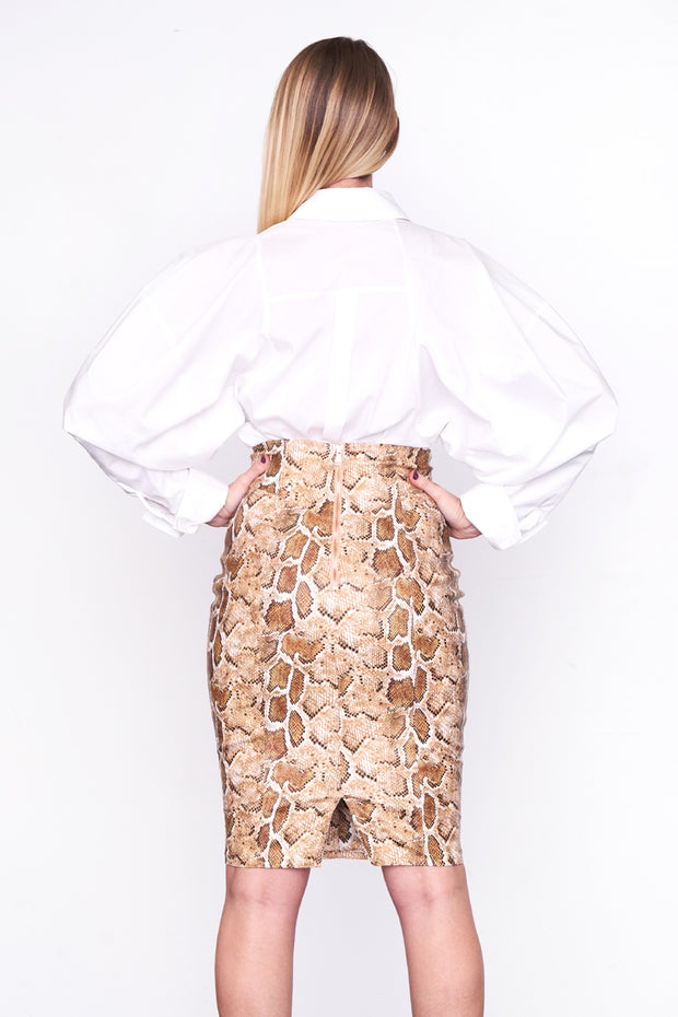 SORAYA - Corset Leather Snakeskin Skirt