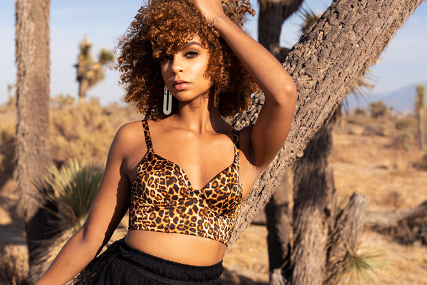 SASHA - Animal Print Satin Bustier