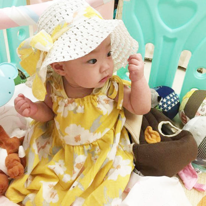 Yellow Flowery Dress and Hat