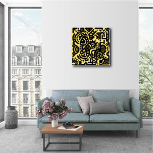 "20 x 20"" Canvas Print - ""Black & Yellow"""