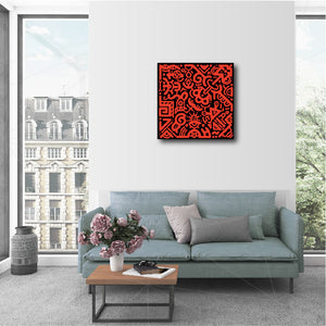 "20 x 20"" Canvas Print - ""Orange & Black"""