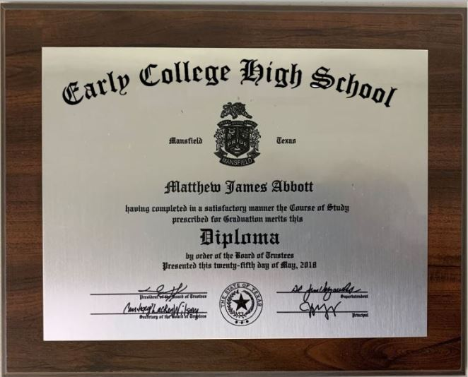 Early College High School GRADUATION DIPLOMA PLAQUE