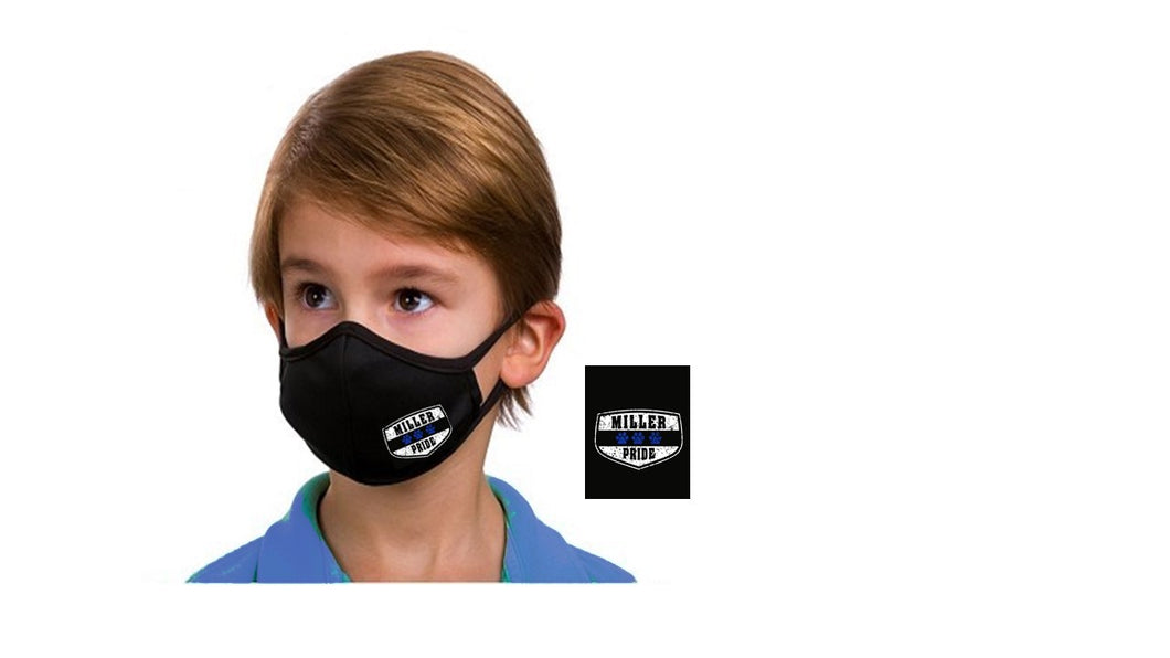 Miller Pride Paw Print Logo Face Mask: Child and Adult Sizes