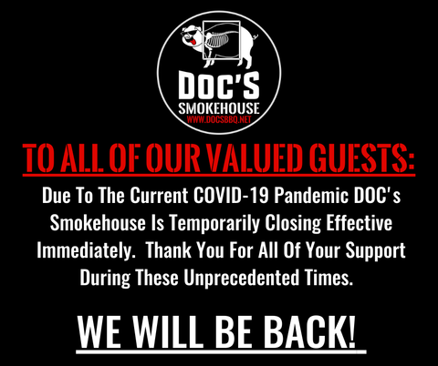 DOC'S Madison Smokehouse Closed until Further Notice