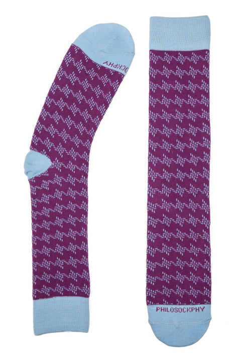 Socks - Houndstooth Patterned Socks By Philosockphy (Magenta)