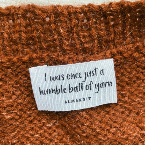 """I was once just a humble ball of yarn"" label"