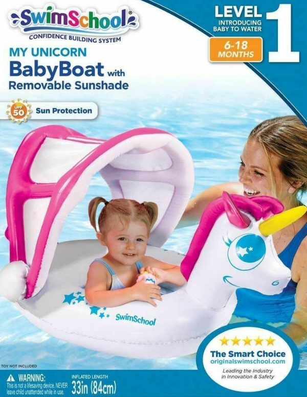 Swim School My Unicorn Baby Boat with Sun Shade - SSB15107SH