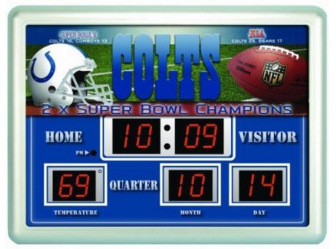 NFL Led Scoreboard Clock Indianapolis Colts 14''x19'' - NFL0028-820