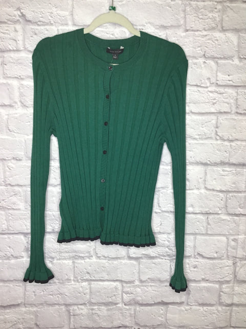 Ann Taylor Size XL Green Silk/Cotton Blend Ribbed Cardigan