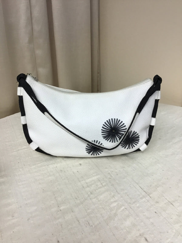 Miu Miu White Black Pebbled Leather Textile Hobo Style Handbag