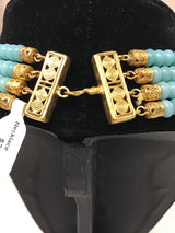 CANO 24kt Gold Plate Aqua/Black Adventurine Onyx Necklace - Fashion Exchange Consignment