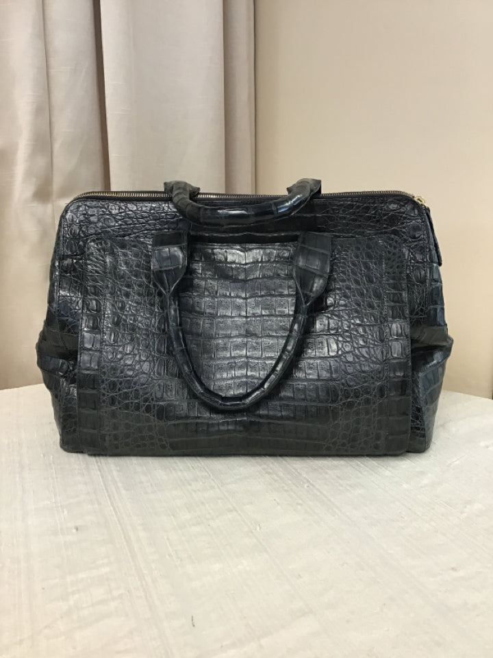 Nancy Gonzalez Gray/Blue Crocodile Animal Skin Handbag