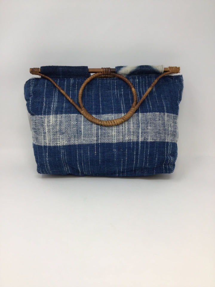 Blue/Ivory Fabric Acrylic Woven Purse
