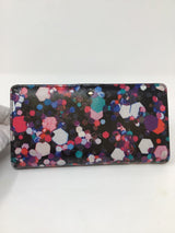 Kate Spade Size Oblong Black/Pink Fuschia/Teal Safiano Leather abstract Wallet