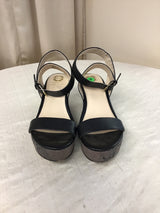 Monet Size 8 Black/Brown Leather Platform Sandals