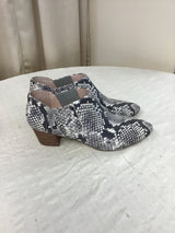 J. Crew Size 9 Ivory/Gray Leather Snake Booties