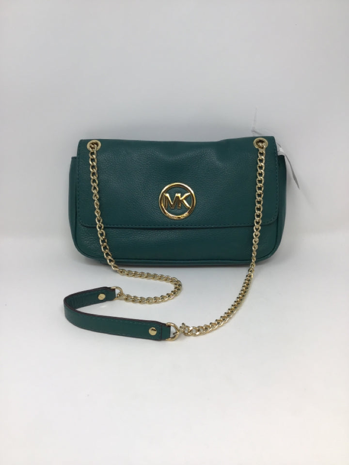 Michael MKors Green Pebbled Leather Crossbody Bag