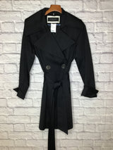 Elie Tahari Women's Size 12 Black Cotton/Poly Raincoat