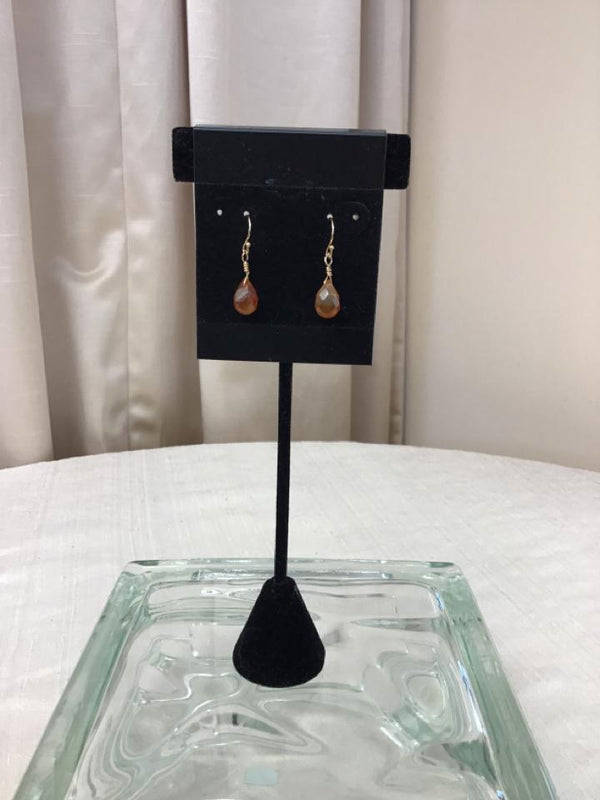 14 Kt Yellow Gold Tan Pierced Earrings - Fashion Exchange Consignment