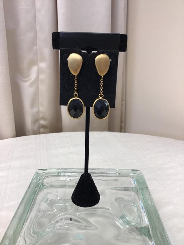 Ralph Lauren Goldtone Black Pierced Earrings - Fashion Exchange Consignment