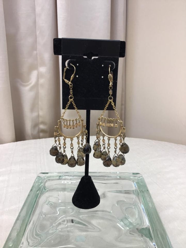 Goldtone Brown Pierced Earrings - Fashion Exchange Consignment