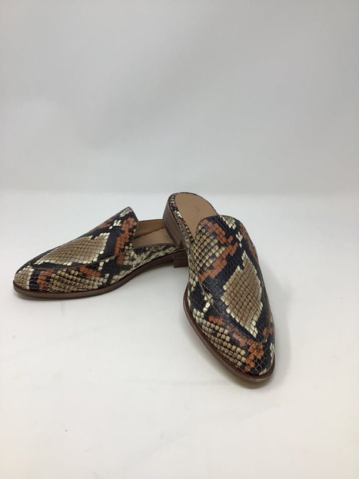 Madewell Women's Size 8 Brown/Beige NWOT Leather Snake Print Mules