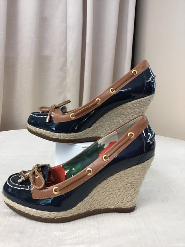 Milly for Sperry Size 6.5 Navy Patent Leather Wedged Heel