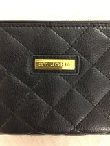 St. John Black Leather Quilted Wallet
