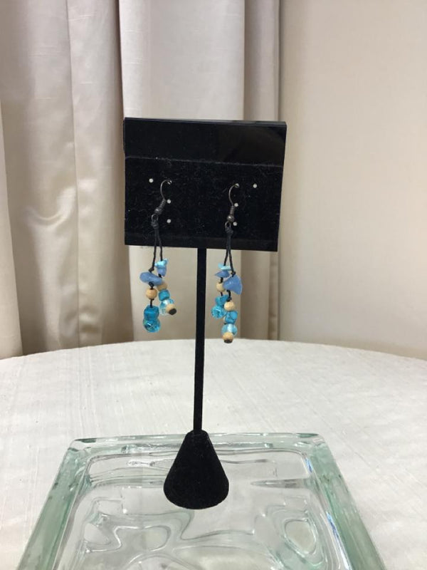 Bronzetone Blue/Aqua Beige Earrings - Fashion Exchange Consignment