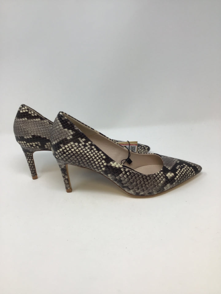 Zara Basic Women's Size 8 Taupe/Ivory Leather Upper Snake Print Pumps