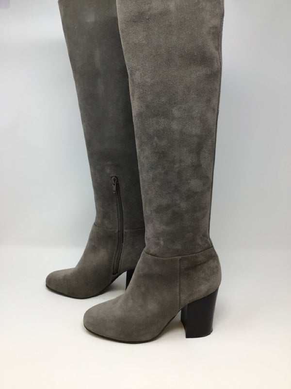 Vince Camuto Size 6.5 Gray Suede Knee High Boots