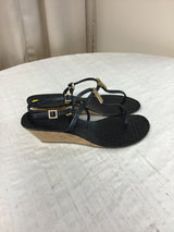 Tory Burch Women's Size 9 Black Leather Wedged Heel Sandals