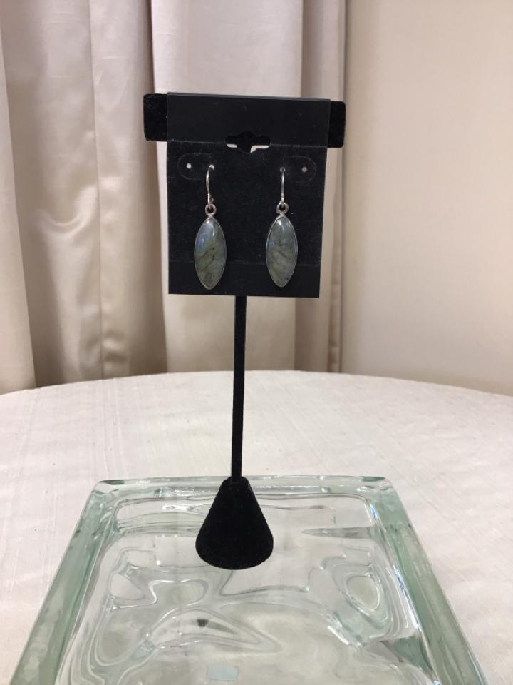Sterling Silver Green Pierced Earrings - Fashion Exchange Consignment