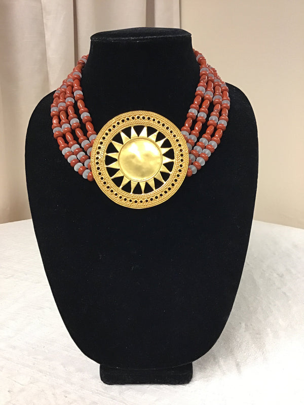 CANO 24kt Gold Plate Rust Pale Gray Necklace - Fashion Exchange Consignment