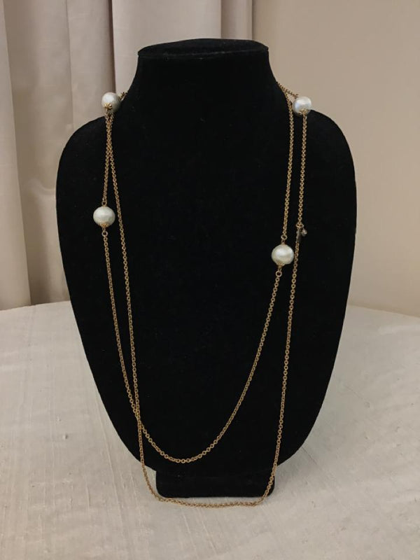 John Wind Goldtone White chain Pearl Necklace - Fashion Exchange Consignment